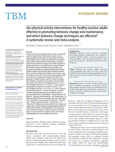 Are Physical Activity Interventions For Healthy Inactive Adults Effective In Promoting Behavior Change And Maintenance And Whic