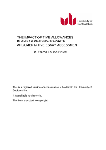 The Impact Of Time Allowances In An Eap Reading To Write Argumentative Essay Assessment Dr Emma Louise Bruce